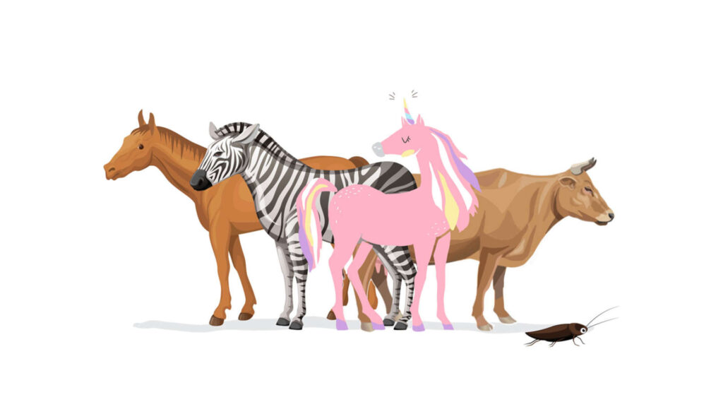 StartUp-Einhorn-Pferd-Zebra-Kuh-Kakerlake